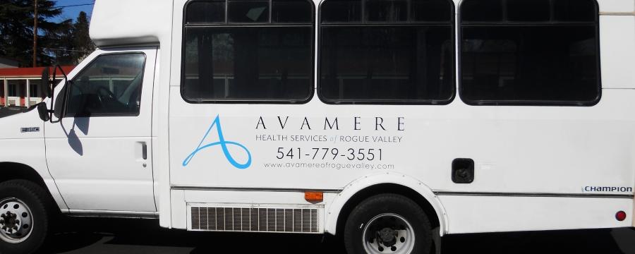 Full-color nylon digital vehicle lettering of Avamere logo on a van.