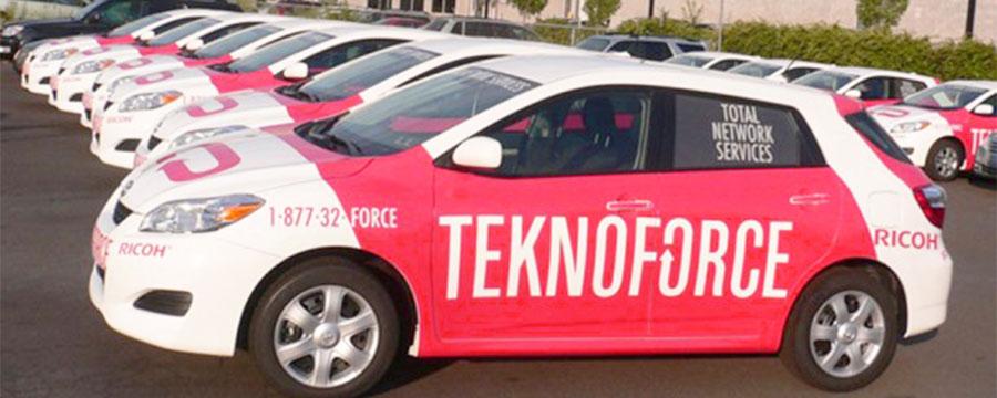 Custom printed vehicle wraps for fleet of cars.