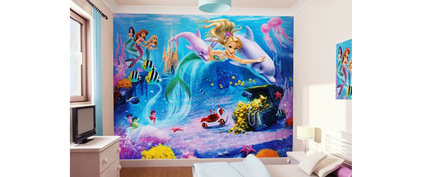 Full-color digital wall mural of mermaids.