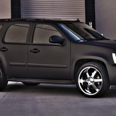 matte black car wrap of tahoe