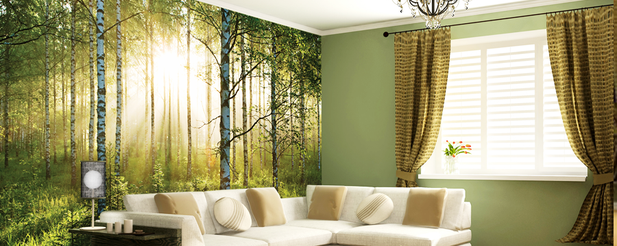 Full-color digital wall mural of a forest.