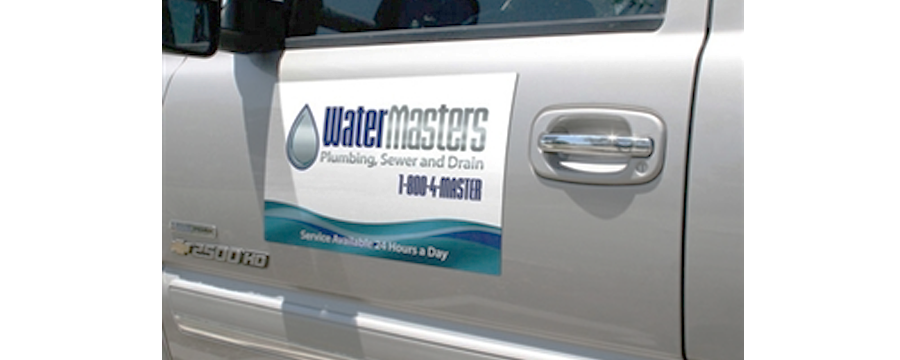 Full-color nylon digital car magnet of a plumbing company.