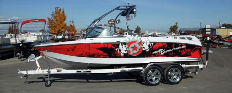 Custom printed Boat graphics
