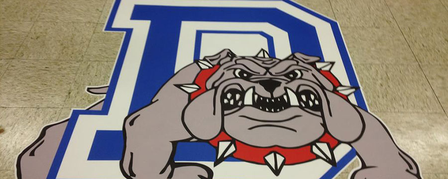 Custom printed floor graphic of school mascot.