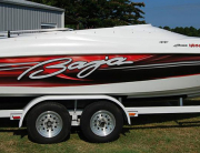 Custom printed boat wraps.