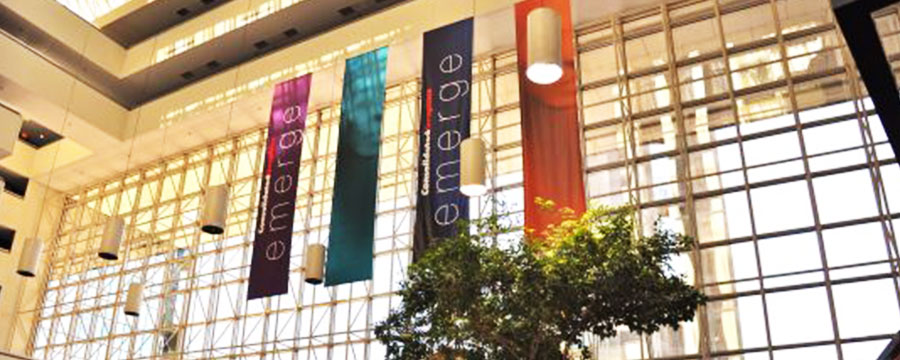 full color digital printed hanging banners