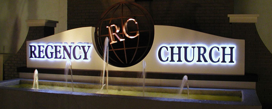 Indoor backlit church sign