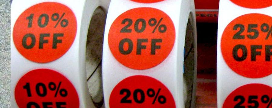 Red vinyl sticker roll labels,