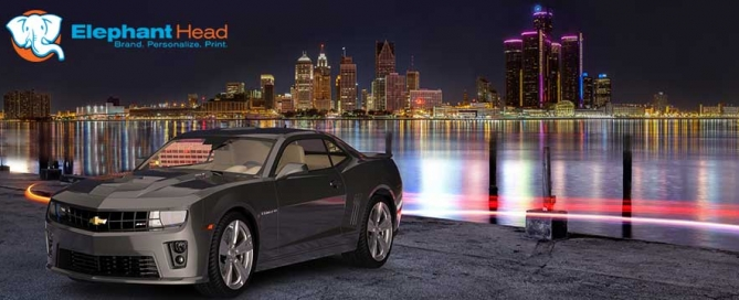 3D rendering of Detroit skyline