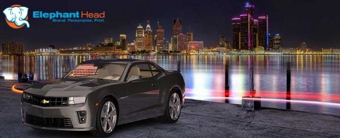 3D rendering of Detroit skyline