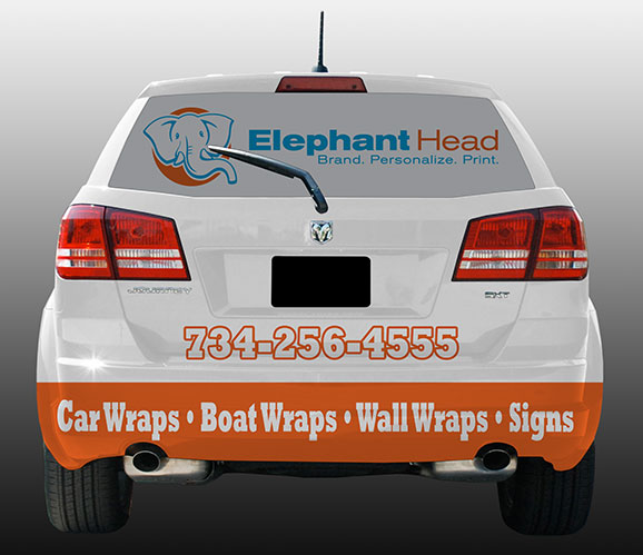 Back of Dodge Journey vehicle wrap