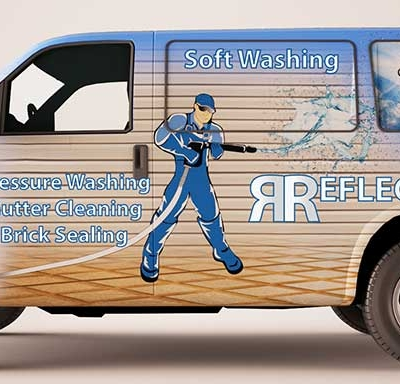 Vehicle wrap for window cleaning van