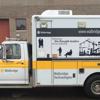 Vehicle graphics for construction company