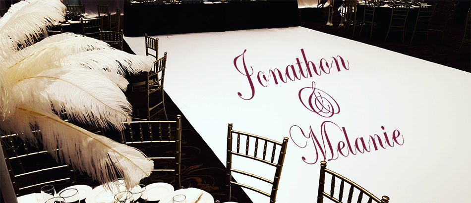 Custom Wedding Dance Floor Wrap with Bride and Groom names in center