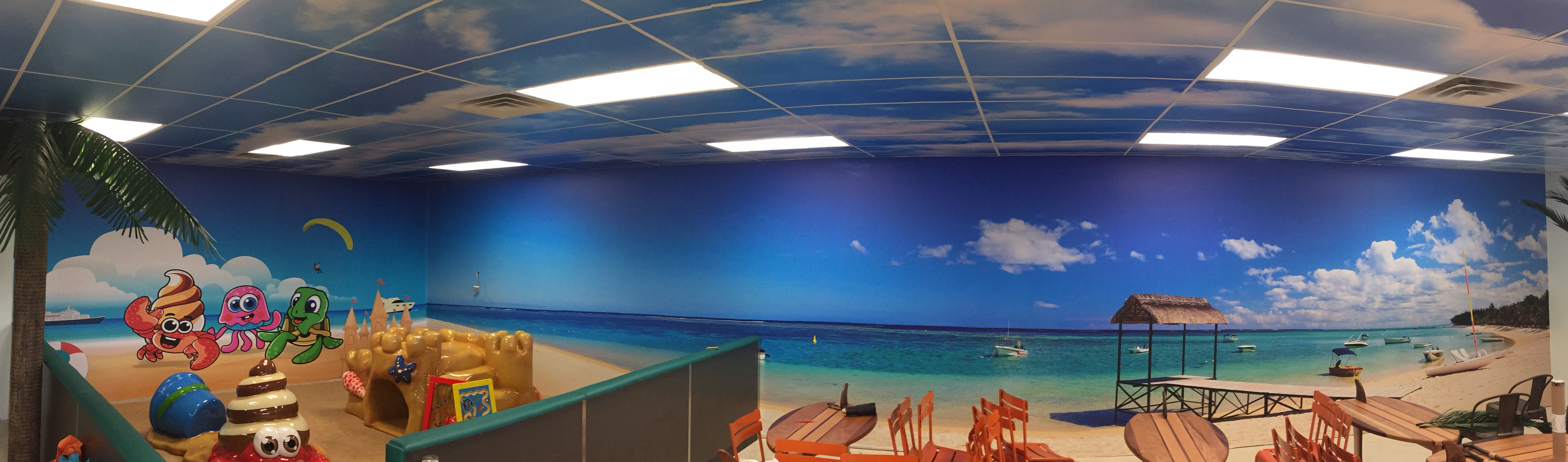 Custom Vinyl Wall Murals for frozen yogurt restaurant in Mason West