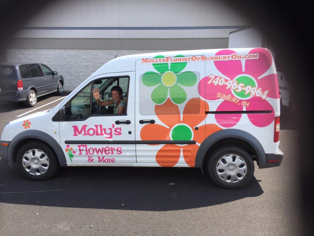 Flower shop vehicle wrap Columbus, Oh