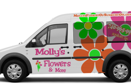 Mollys Flowers of Sunbury, Ohio rides in style in their new flowers shop vehicle wrap